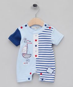 85ad440483cc Take a look at this Blue Sailing Rompersuit - Infant by Nursery Time on   zulily