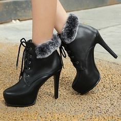 Ericdress Platform Lace-Up Front High Heel Boots