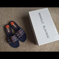 Manolo Blahnik leather and denim sandals NIB. These are new but tried on. Never worn but sole shows some wear form the store. Bought as is. Leather and denim. Manolo Blahnik 35.5 Euro Made in Italy Manolo Blahnik Shoes Sandals
