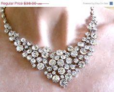 Bridal Statement Necklace Set, Crystal Wedding Necklace, Statement Necklace with Satin Ribbon Tie - Choose Your Own Color