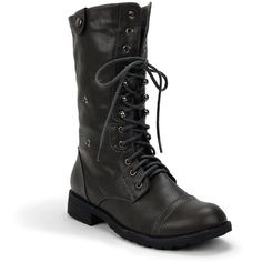 Military Inspired Lace Up Plaid Mid Calf Boot Grey Women'S Shoe Size:... ❤ liked on Polyvore