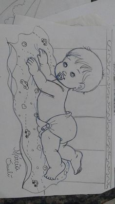 baby laying on blanket Baby Painting, Tole Painting, Fabric Painting, Baby Embroidery, Embroidery Patterns, Quilt Patterns, Baby Drawing, Baby Sewing Projects, Pencil Art Drawings