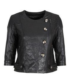 Black Isla Gorge Leather Jacket - Women #zulily #zulilyfinds