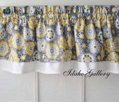 Gray Yellow White and Black Double Layer Little Curtain Modern Style Valance on Etsy, $22.50