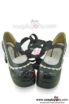75mm BLACK Elegant Patent Mary Jane Doll Shoes