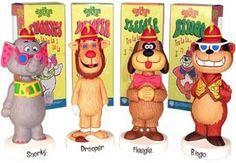 The Banana Splits characters: Snorky, Drooper, Flaegle and Bingo 60s Cartoons, Old School Cartoons, Desenhos Hanna Barbera, 1960s Toys, 1980s, Childhood Movies, Banana Split, Bobble Head, Vintage Toys