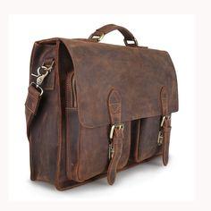 Kattee Crazy Horse Handmade Leather Men S Briefcase Shoulder Hand Bag With Laptop