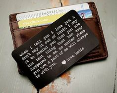 Custom Engraved Wallet Insert, Personalized Wallet Card, Mini Love Note, Metal Wallet Card - Anniversary, Valentine's Day, Father's Day, Groom's Gift For Him