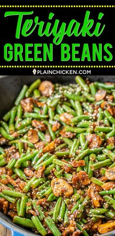 Teriyaki Green Beans - Plain Chicken Teriyaki Green Beans - our favorite green bean recipe. SO delicious! Green beans, shallot, mushrooms, garlic, teriyaki sauce and sesame seeds. Ready to eat in about 15 minutes. Vegetable Sides, Side Dishes Easy, Vegetable Side Dishes, Side Dish Recipes, Veggie Recipes, Asian Recipes, Cooking Recipes, Healthy Recipes, Chinese Side Dishes