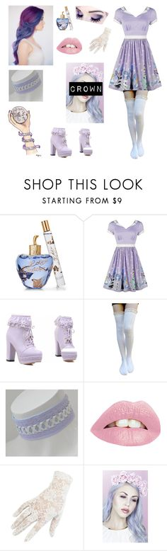 """Purple hair daydream!!! 💜"" by me1ody ❤ liked on Polyvore featuring Lolita Lempicka, Black and Lulu in the Sky"