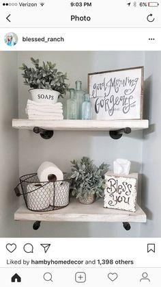 Master bath shelves #girlsroomshelvessmallbedrooms Half Bath Decor, Half Bathroom Decor, Bathroom Crafts, Shelving In Bathroom, Master Bathroom Designs, Decorating Bathroom Shelves, Decorating Small Bathrooms, Small Bathroom Makeovers, Girl Bathroom Ideas