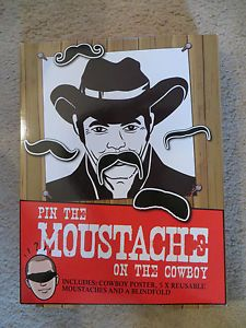 Pin the Moustache on the Cowboy drinking party game unwanted Christmas present