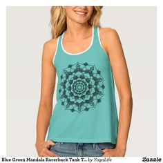 Blue Green Mandala Racerback Tank Top