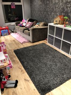 A play room with a place for the adults to chill Cosy Fireplace, Shag Rug, Playroom, Chill, Kids Rugs, Home Decor, Shaggy Rug, Game Room Kids, Decoration Home
