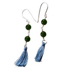 Silvesto India Green Quartz Gemstone 925 Sterling Silver Tassel Earring PG-18084   https://www.amazon.co.uk/dp/B01E8ORYKM