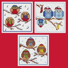 This festive flock of three Christmas card cross stitch kits are the perfect pack of patterns to brighten up someone's holiday. Designed by Fat ...