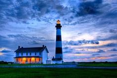 Bodie Island lighthouse at sunrise.