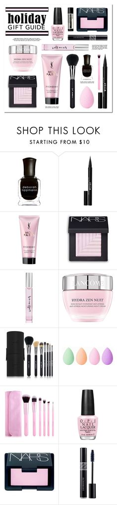 """Holiday Gift Guide: Beauty Faves"" by lgb321 ❤ liked on Polyvore featuring beauty, Deborah Lippmann, Stila, Yves Saint Laurent, NARS Cosmetics, Kate Spade, Lancôme, Sigma, beautyblender and OPI"
