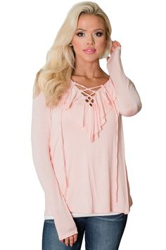 645b9869d51 Pink Ruffle Criss Cross Neck Top •It can be easily dressed up or down -
