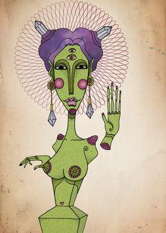 Crystal alien Illustration, 2015 by Esuda