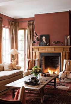 Chairs By Fireplace Red Brick Fireplaces Room Colors Color Schemes Wall