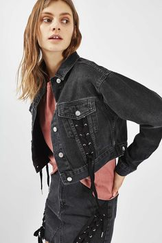 MOTO Lace up Crop Jacket Cropped Denim Jacket, Denim Outfit, Topshop,  Jackets, c6811051aa