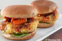 Roasted Red Pepper and Feta Quinoa Burgers from Slimming Eats