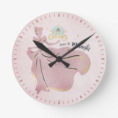 "Cinderella Silhouette ""Dance 'Til Midnight"" Round Clock Cinderella Silhouette, Royal Room, Clock, Dance, Display, Artwork, Prints, Products, Watch"