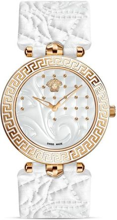 Vanitas White Watch from Versace Women's Collection. With its timeless, luxurious and highly glamorous style, Vanitas is set to become the new icon of Versace watches. Stylish Watches, Luxury Watches, Versace Watches, Versace Versace, Beautiful Watches, Fashion Watches, Women's Fashion, Rolex, Bracelets
