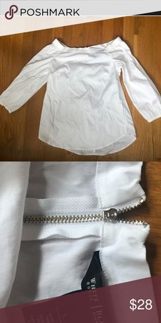 1fef2620 White blouse Off the shoulder white blouse. Good condition White House Black  Market Tops Blouses