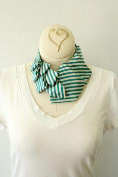 Women's collar, scarf, neck tie in green stripes $40