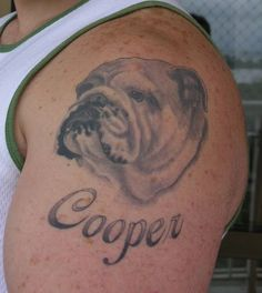 My friends and coworkers know how crazy I am about my 2 bulldogs and about bulldogs in general. So maybe I will get a bulldog tattoo? Dog Tattoos, I Tattoo, Tatoos, Bulldog Tattoo, British Bulldog, Dog Portraits, Fur Babies, Tatting, Ink