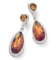 "Autumn Colors Drop Earrings - Drop style earrings with faux stones set in textured silvertone. 2"" L, pierced. Regularly $19.99, buy Avon Earrings online at http://eseagren.avonrepresentative.com"
