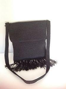 The Sak Black Bag Fringes Designer Fashion Crochet Hip Chic Shoulder Purse   eBay