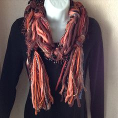 Beaded Scarf Hand Tied Scarf Tied Yarn Beaded by SignsFromTheHeart, $23.00
