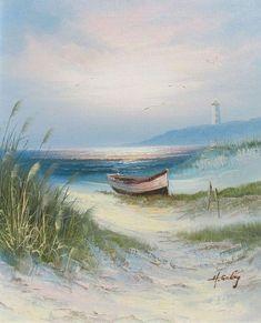 Simerenya things i want to paint в 2019 г. watercolor art, p Seascape Paintings, Landscape Paintings, Beach Paintings, Watercolor Landscape, Watercolor Paintings, Watercolors, Lighthouse Painting, Boat Art, Painting Inspiration