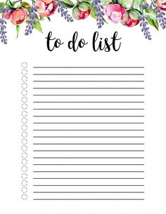 To Do List Printable Template - Paper Trail Design - Floral To Do List Printable Template. Cute daily, weekly, or monthly to-do list with flowers for ki -Floral To Do List Printable Template - Paper Trail Design - Floral To Do List P. To Do Planner, Planner Pages, Happy Planner, Planner Stickers, Monthly Planner, To Do Checklist, Checklist Template, Planner Template, Teacher Checklist