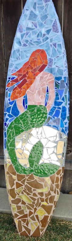 Customized Stained Glass Mosaic Recycled Surfboard Art on Etsy, $650.00