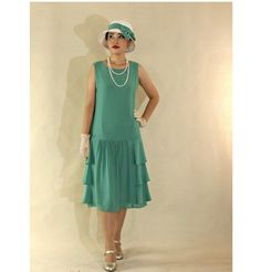 Sea green Great Gatsby dress with tiered skirt, 1920s flapper dress, green Downton Abbey dress, 20s tea dress, rob...