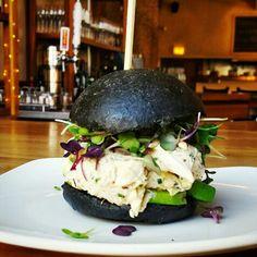 Spicy #crab bocadillo with avocado on squid ink bun.  #WestLoop #Chicago #Spain #Bocadillo #Mini #Sandwich #SquidInk