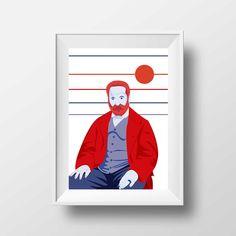 Affiche d'Art Littérature - Poster Illustration Victor Hugo Portrait Style Pop Art Poète Ecrivain Librairie Tirage Art Littéraire