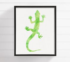 Gecko Art Print Watercolor Gecko Gecko Painting by MiaoMiaoDesign