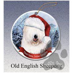 Old English Sheepdog Howliday Dog Christmas Ornament
