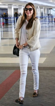 AIRPORT LOOK: MIRANDA KERR | DISTRESSED DENIM + LEOPARD LOAFERS // Get the look...