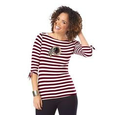 Washington Redskins Ladies Striped Boat Neck Three-Quarter Sleeve T-Shirt - Burgundy/White