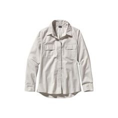 Women's Patagonia L/S Featherstone Shirt - Chambray/Tailored Grey Long... (3,695 PHP) ❤ liked on Polyvore featuring tops, tailored shirts, shirts & tops, chambray top, grey shirt and long sleeve tops