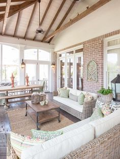 Comfortable and inviting screened in porch.