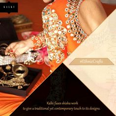 Kalki fuses 'shisha' work to give a traditional yet contemporary touch to its designs.  Click here: http://bit.ly/1aAQkz7