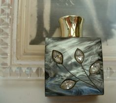 Vintage Mini Lucite Perfume Bottle Metal Case