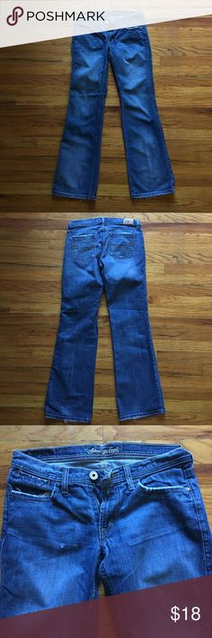 American Eagle 🦅 hipster relaxed flare size 6 reg American Eagle 🦅 hipster relaxed flare size 6 reg. Some fraying at front and back pockets and at hem. American Eagle Outfitters Jeans Flare & Wide Leg